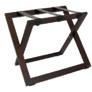 Compact Wooden Luggage Rack with Leather Straps, Walnut